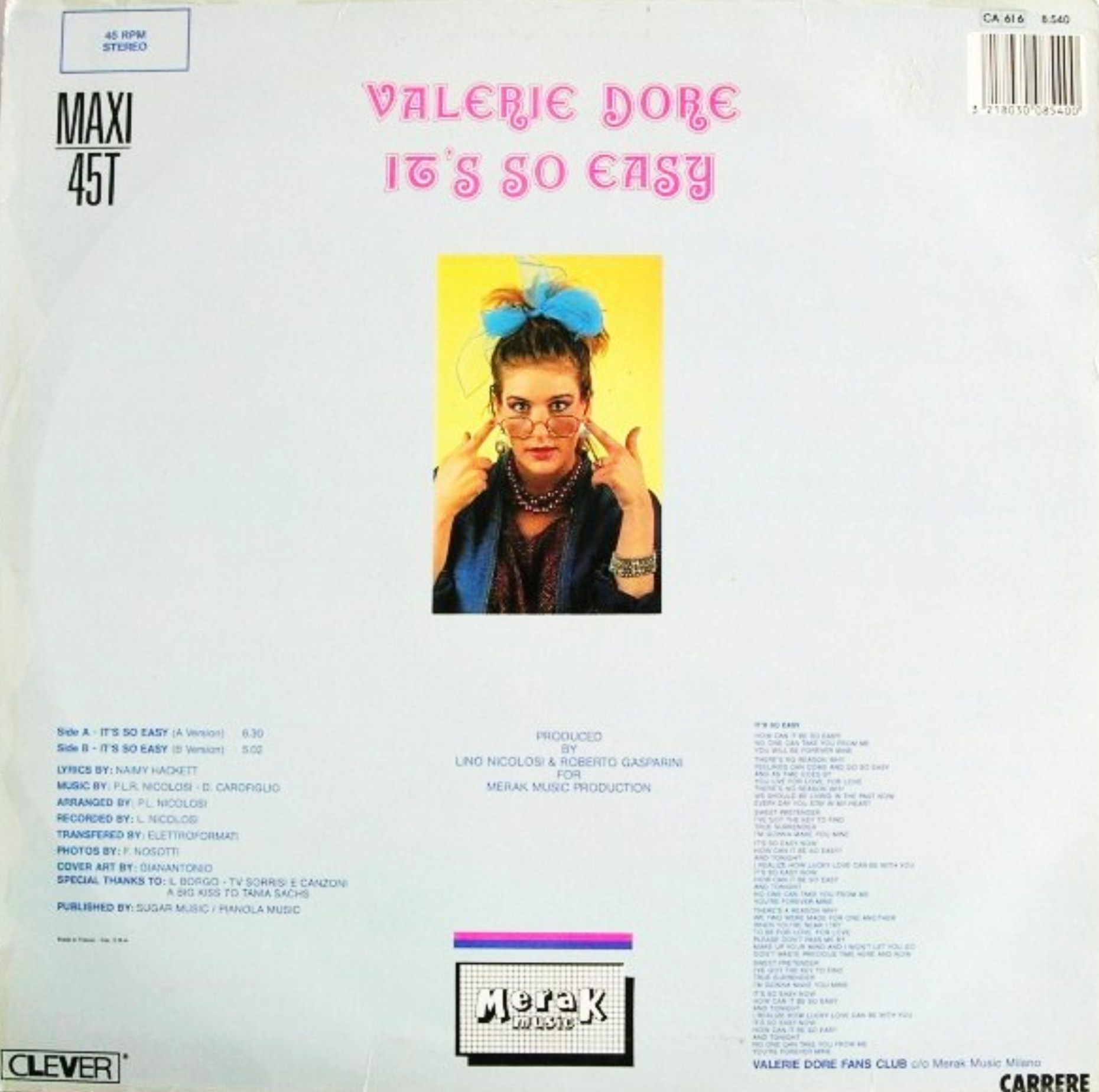 Valerie Dore - It's So Easy (12'' version)