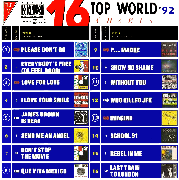 16 Top World Charts 92