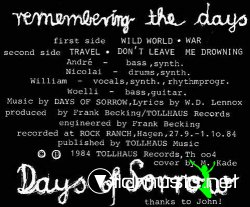 Days Of Sorrow - Remembering The Days 12