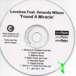 Loveless Feat Amanda Wilson - Found A Miracle (Promo CDM - 2008)