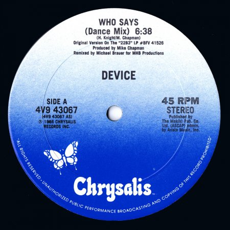 Cover Album of Device - Who Says (Dance Mix) (US 12'')