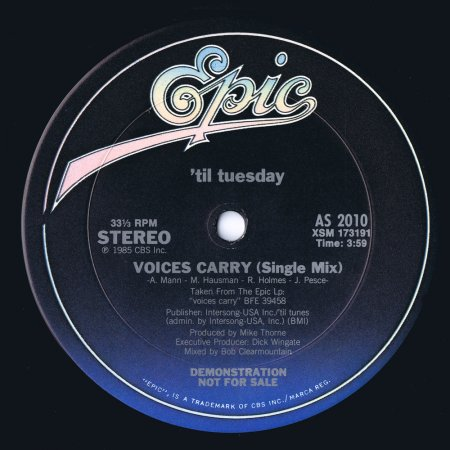 Til Tuesday - Voices Carry (US 12'' Promo)