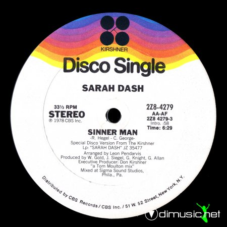 Sarah Dash - Sinner Man (US 12'')
