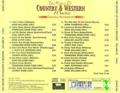 The History Of Country And Western Music 1927-1951 - Discography (20 Albums)